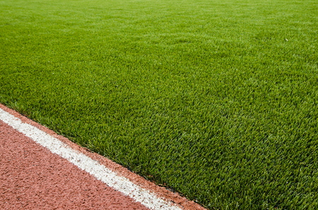 Detail of running track rubber lanes with the artificial grass.