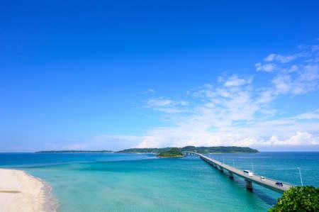 The Corner Island Bridge and the Blue Sea in Summer, the Blue Sky