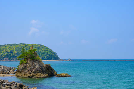 Beautiful blue sky and green and natural scenery of the sea in Kitanagato Coast Quasi-National Park