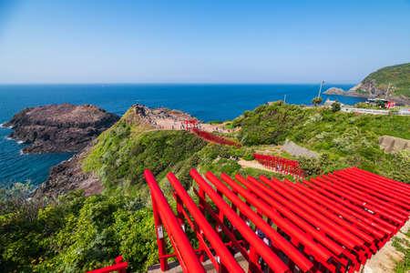 Motonosumi Shrine in Yamaguchi Prefecture with a beautiful red torii gate
