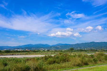 Beautiful summer blue sky and countryside (Asakura City, Fukuoka Prefecture) 写真素材
