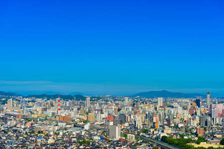 The blue sky in summer and the view of Kitakyushu city
