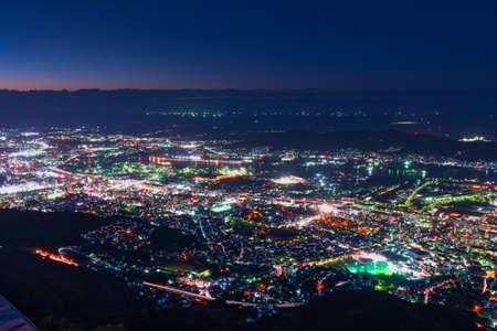 New Japan's Three Great Night Views from the Tatakurayama Observatory (Kitakyushu City) 스톡 콘텐츠