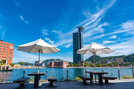 Retro scenery of Moji Port, a famous tourist spot in Kitakyushu with beautiful summer blue sky