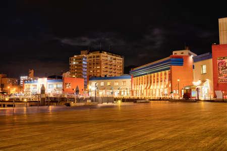 The night view of the famous tourist spot Moji Port retro of beautiful Kitakyushu lit up