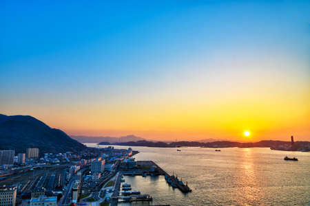 The sunset of the beautiful Sekimon Strait seen from the retro observation room of Moji Port