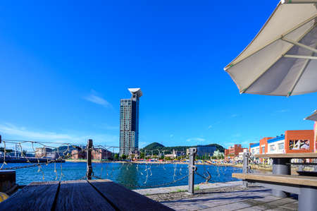 Kitakyushu's famous tourist spot The beautiful Moji Port retro scenery of the summer blue sky