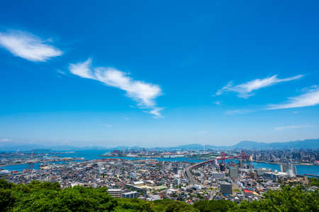 The cityscape of Kitakyushu seen from the observation deck of Mt. Takato in summer
