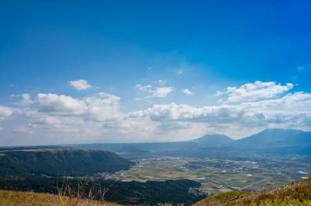 Aso city and Aso mountains seen from Aso Daikanbo in autumn