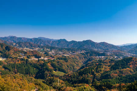 Takachiho Town, Miyazaki Prefecture, mountainscape with superb view from Kunimigaoka in autumn