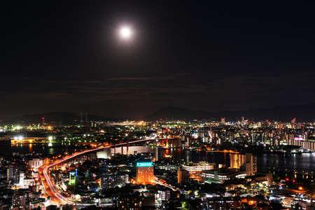 A beautiful night view of Kitakyushu City from the Takatoyama Observatory