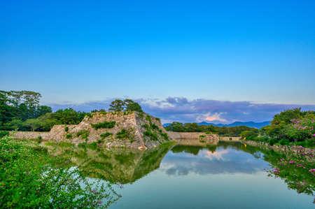 Hagi Castle ruins at dusk, historically famous