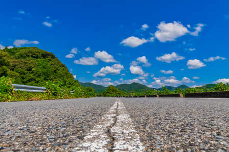 Peaceful countryside and roads with blue skies