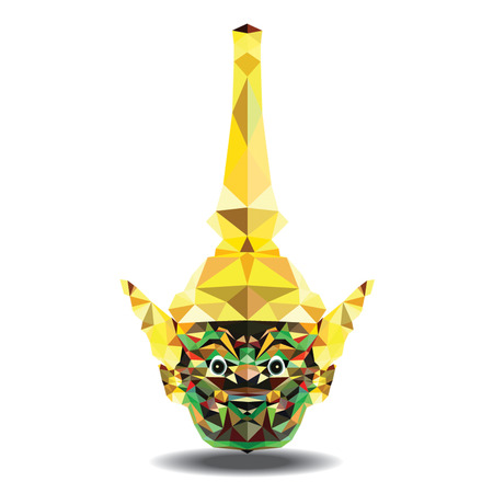 king thailand: low poly of Thai mask name Yak isolate on white background
