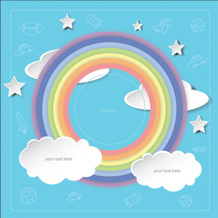 clound: Concept of boy picture frame on blue background