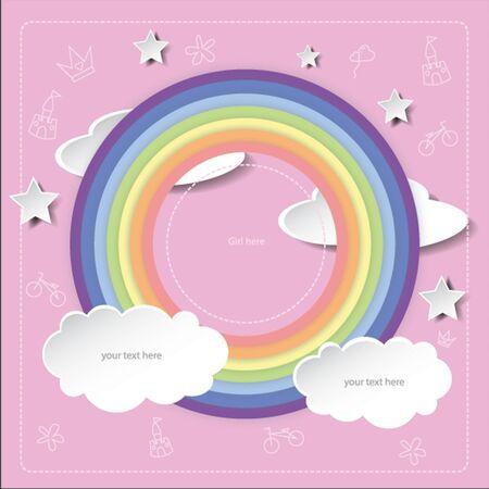 clound: Rainbow frame pink background