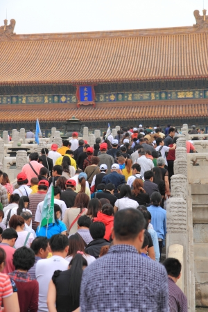 Beijing China - May 11,2012, Domestic tourism booming in China  Tourists filling up massive Forbidden City in Beijing China