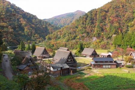 Gokayama Japanese traditinal village with autumn leaves in Toyama Japan