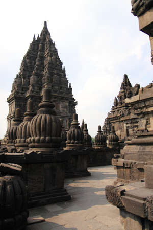 java: Peaceful Prambanan Temple in Jogyakarta Java Indonesia Stock Photo