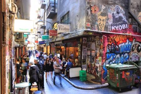 locals: Melbourne Australia- August 31,2013, Locals and tourist enjoying dining on Centre Place Melbourne CBD Australia