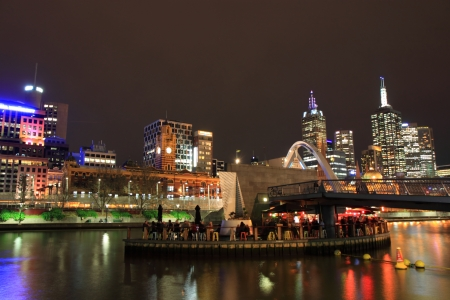 Beautiful Melbourne night view, people enjoying dining and drinking in Yarra river Melbourne Australia photo
