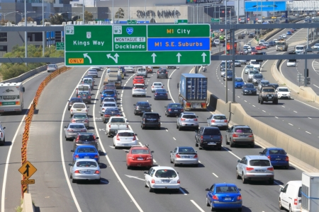 Melbourne Australia- October 12,2013,Weekend heavy traffic on M1 Freeway in Melbourne Australia