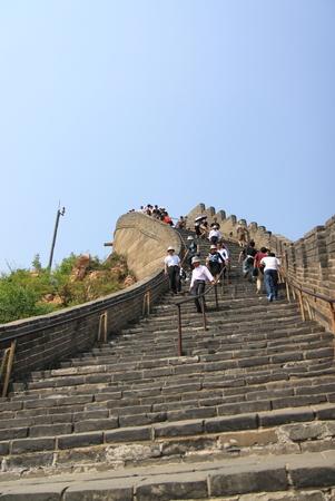 Beijing China - May 10,2012, Tourists climbing up and down steep stairs at Great Wall of China,Beijing China