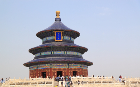 Beijing China - May 12,2012, Tourists sightseeing famous Temple of Heaven in Beijing China