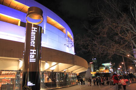 southbank: Melbourne Australia- August 15,2013,Hamer Hall by night  - Orchestra and music performances venue   Editorial