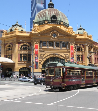 Melbourne Australia- December 07,2013  Historic tram runs in front of Flinders Station Melbourne  Editorial