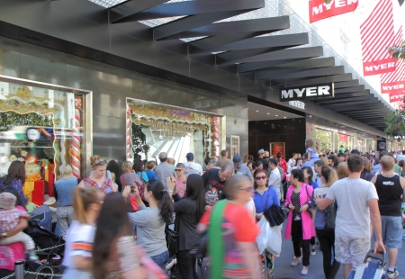 Melbourne Australia- December 07,2013 People shop for X mas gifts at Myer on Burke Street Melbourne