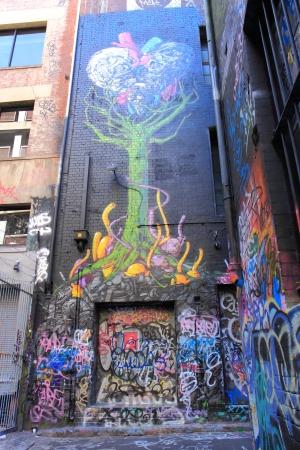 Melbourne Australia- January 26,2014  Colorful street art in famous Hoiser Lane Melbourne