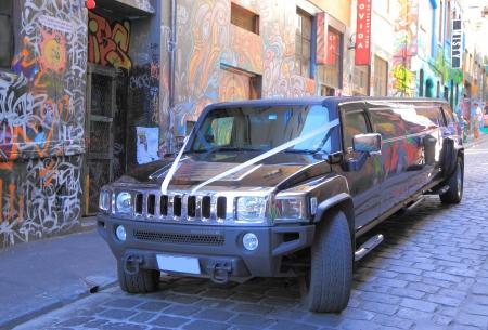 Melbourne Australia- January 26,2014 Hummer parked in famous Hoiser Lane Melbourne