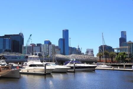 webb: Melbourne Australia - January 26 2014 Docklands Harbour and Webb bridge  Editorial