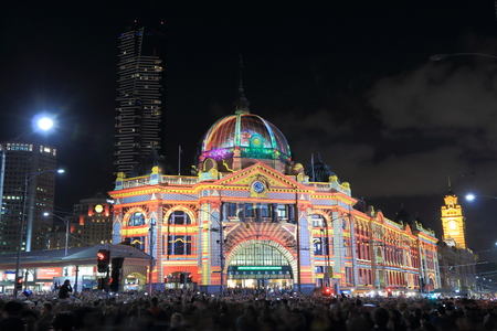 flinders: Flinders station light up Melbourne