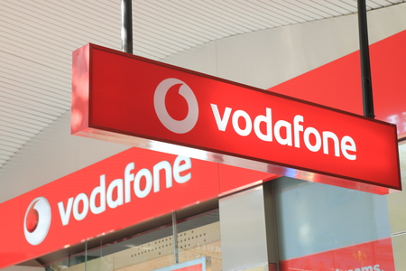 MELBOURNE AUSTRALIA - March 1,2014  Logo of Vodafone