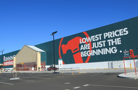 MELBOURNE AUSTRALIA - APRIL 25, 2014 Bunnings Warehouse Australia  Bunnings Warehouse is Australia's largest household hardware chain with stores in Australia and New Zealand   Editorial