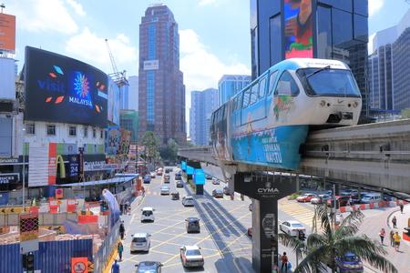 Kuala Lumpur Malaysia - 25 May, 2014  Busy Bintang walk intersection in Bukit Bintang and monorail runs over in Bukit Bintang Kuala Lumpur Malaysia   Editoriali