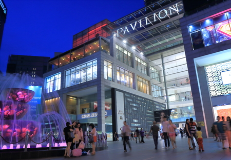 Kuala Lumpur Malaysia  - 25 May, 2014 Modern PAVILION Shopping mall by night in Bukit Bintang in Kuala Lumpur Malaysia   Editorial