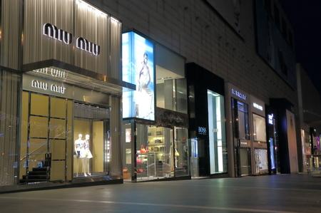 Kuala Lumpur Malaysia - 25 May, 2014  Luxury shops in Bukit Bintang shopping district b night in Kuala Lumpur Malaysia