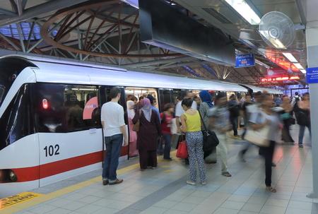 Kuala Lumpur Malaysia - 30 May, 2014  Tourists and local people commute at LRT KL Sentral station in Kuala Lumpur Malaysia