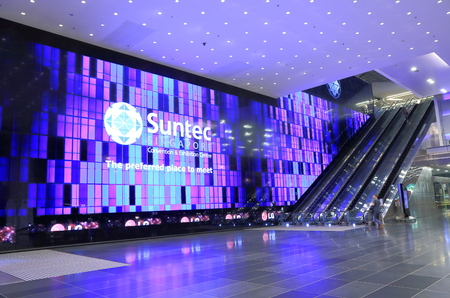 Singapore, Singapore - 27 May, 2014  Contemporary Suntec City Convention and Exhibition Centre entrance in Marina Centre Singapore