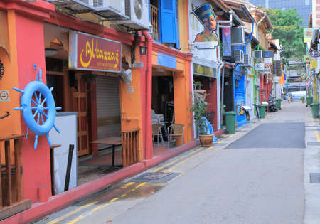 Singapore, Singapore - 27 May, 2014  Colourful clothes shops and restaurants in Haji Lane Bugis in Singapore   Editoriali