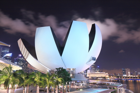 Singapore, Singapore - 28 May, 2014  Contemporary architecture, ArtScience Museum in Marina Bay Singapore by night