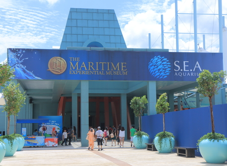 Singapore, Singapore - 28 May, 2014  Tourists sightsee popular tourist attraction Maritime Experiential Museum in Sentosa Island Singapore