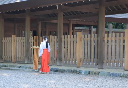Nagoya Japan - 31 May, 2014 Miko, Japanese shrine maiden works at Atsuta Shrine in Nagoya Japan