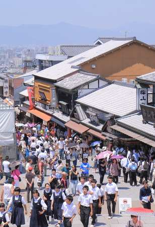Kyoto Japan - 1 June, 2014  Tourists sightsee historic Kiyomizu zaka Higashiyama area in Kyoto Japan