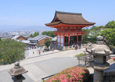 dera: Kyoto Japan - 1 June, 2014  Famous Kiyomizu Dera temple front gate and Kyoto city view in Kyoto Japan   Editorial