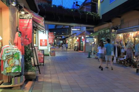 Kobe Japan - 2 June, 2014  People shop at Mosaic shopping mall in Haborland Kobe Japan