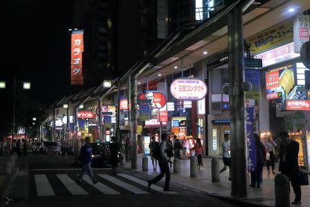 Kobe Japan - 2 June, 2014  Busy Kobe Sannomiya entertainment district by night in downtown Kobe Japan